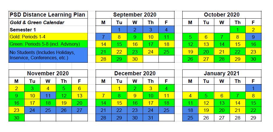 green/gold calendar